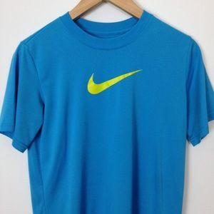 Nike Dri-Fit Women 100% Cotton L Blue T-Shirt